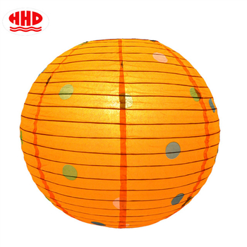 Party Decoration Orange Dot Printing Round Chinese Paper Lanterns