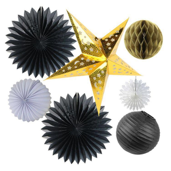 Black White Gold Party Decoration Set Fiesta Tissue Paper Fans Paper Honeycomb Ball Paper Lantern