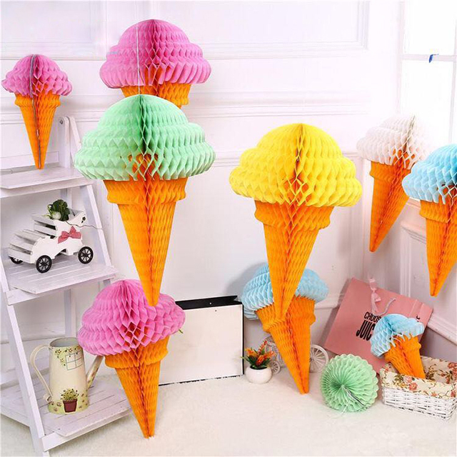 Sweet Party Paper Decoration Ice Cream Shape Tissue Paper Honeycomb Ball