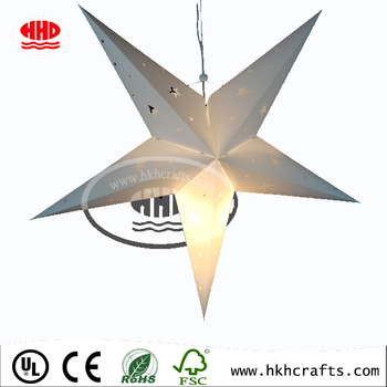 Star Lantern Lampshade Handmade Paper Star Pentagram Lampshade for Valentine's Day Wedding Party Home Hanging Decor