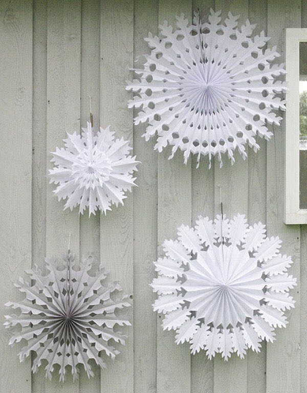 Large Pinwheel Cut Out Hanging White Tissue Paper Fan Snow Flake for Birthday, Bridal Shower, Baby Shower Party Decoration